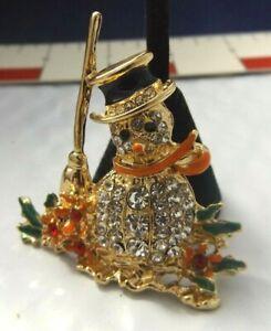 Fashion Modern Brooch Figural Pin Snowman Rhinestone Loaded Enamel Yellow tone