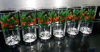 Holly Berry Drinking Glasses Tumbler Highball Mid Century Vintage Glass Set of 6