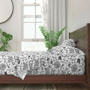 Forest Animals Woodland Toile Decor 100% Cotton Sateen Sheet Set by Spoonflower