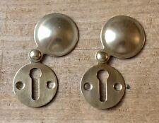 Pair Vintage Escutcheon Keyhole Solid Brass Door Hardware Salvage Old Reclaimed