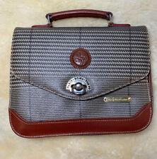 Vintage Polo Ralph Lauren & Paris Roma Tokyo Houndstooth Plaid Leather Purse