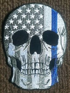 USA Skull Flag Blue Lives Thin Blue Line Law Enforcement Police Patch