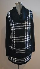 New Directions Women's Tunic Sweater Front Pockets Black Plaid Sz Petite Lg MINT