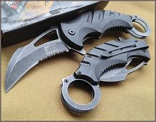 MTECH XTREME BLACK WOOD HANDLE KARAMBIT KNIFE 5 INCH CLOSED WITH CLIP