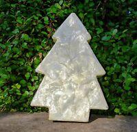 "Vintage Capiz Shell Jewelry/Trinket Box Christmas Tree Shape, Green Bottom 7.5"""