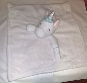 Carters Unicorn Pacifier Holder Baby White & Pink  W/rainbow Hair Soft Lovey