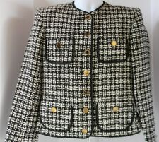 Vintage Evan Picone Jacket Size 10 Worsted Wool Herringbone Lined Union Made USA