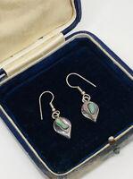 Alpaca Mexico Silver Earrings Abalone Paua Shell Pretty Dainty Jewellery Gift