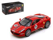 FERRARI 458 ITALIA CHALLENGE #5 RED ELITE EDITION 1/43 MODEL CAR HOTWHEELS X5504