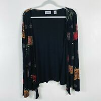 Chico's Travelers Size XL 16 3 Black Printed Acetate Open Front Top Long Sleeve