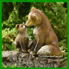 Miniature Dollhouse Fairy Garden Animal Sentiment Parent Mother & Child Foxes