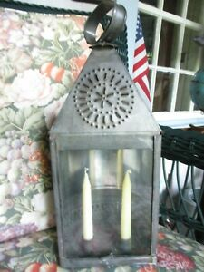 Antique Replica Punched Tin Lantern Glass Panel