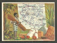 Map card Reunion ile Bourbon Coffee Bamboo Africa 1880s