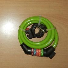 Zahlenschloss mit Stahlkettengliedern für Fahrrad und Motorrad 12 x 1200 mm grün