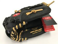RSS 125C 12.5 INCH ~ Rawlings Youth Leather Black Baseball Softball Glove ~ New!