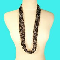 "34"" Multi Strand Black Silver Color Bali Boho Style Handmade Seed Bead Necklace"