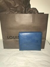 100% Authentic Louis Vuitton Small Blue Epi Bifold Leather Wallet Made In France