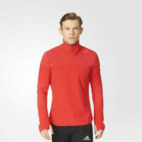 adidas Mens Supernova Half Zip Running Top Red Sports Reflective