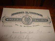 Letterhead 1888  Morris H Treusch Wholesale Tobacconists Grand Rapids Mich