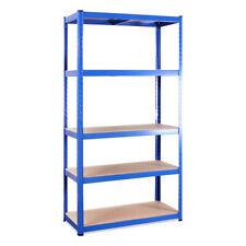 Single 5 Tier Blue Metal Garage Shelving Unit Racking Storage 180 x 90 x 45cm