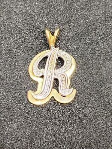 14K Yellow & White Gold Letter R Charm or Pendant