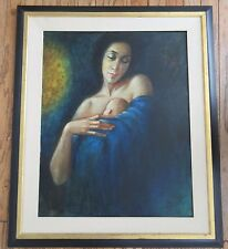 PINOT SIGNED OIL PAINTING MADONNA ICONIC MOTHER AND CHILD MODERNIST PORTRAIT VTG