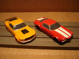2 TOMY AFX HO SCALE BODIES ONLY CHEVROLET CAMARO SS350 RED VS MUSTANG BOSS 429