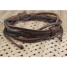 New Cool Adjustable Men's Hemp Surfer Tribal MultiWrap Genuine Leather Bracelet