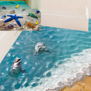 Floor stickers 60*90cm 3D dolphin waterproof bathroom starfish wall sticker EI
