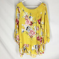 JAASE Womens Tunic Top Size Small Floral Rayon Boho Festival Long Sleeve