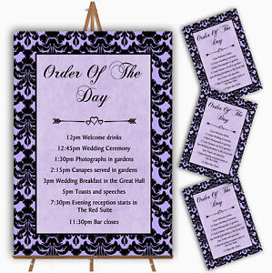 Lilac Purple Black Damask & Diamond Personalised Wedding Order Of The Day Cards