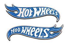 "5"" Chrome & Blue Hot Wheels Flames Fender Emblems Hot Rod, Mustang, Camaro"