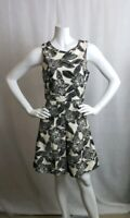 J Crew Size 4 Sleeveless Floral Dress Ivory Black A-Line New Tags MSRP 148.00