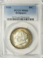 1936 Bridgeport Commemorative Silver Half Dollar - PCGS MS 66 - Mint State 66