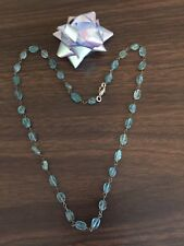 """Natural APATITE Blue Gemstone Oval 20"""" NECKLACE 10.17g White Copper Link Jewelry"""