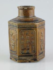Antique Hexagonal Chinese Stoneware Tea Caddy