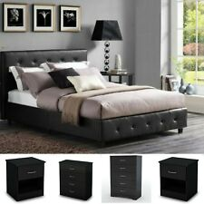 5 Pieces Queen Size Bedroom Set Furniture Leather Bed 2 Nightstands 2 Chest New