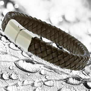 Mens Brown Genuine Flat Leather Braided Wristband Bracelet Stainless Steel Clasp