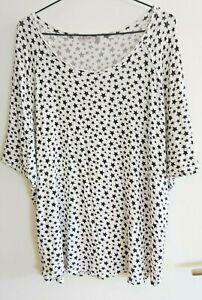 Ladies Black & White Star Print Top/T-shirt sz 14 by LINCOLN St. Clothing