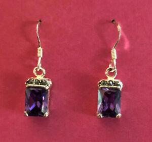"Sterling Silver Earrings Amethyst Purple CZ Radiant Ct Marcasite 1"" 3g 925 #1837"