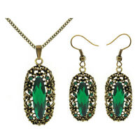 Vintage Style Green Antique Gold Jewellery Set Drop Earrings Oval Necklace S910