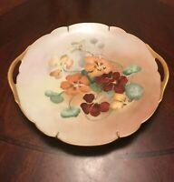 "Antique D&C Limoges France Flowers & Gold  Handled 10.5"" Plate Hand Painted L@@K"