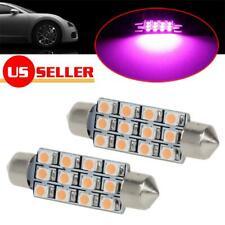 2x Pink Purple 12-3528-SMD 42mm Festoon Car LED Dome Map Reading Lights