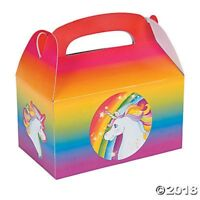 6 Unicorn Rainbow Treat Goody Candy Boxes Birthday Party Favors Gift w/ Handles