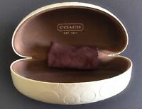 Coach Sunglass Hard Shell Case Color Ivory and Brown on the inside