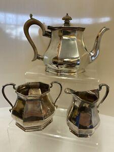 Vintage R&B Romney Sheffield Plate 1315 Tea Pot, Milk Jug & Sugar Bowl (D1)