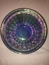 "Vintage Indiana blue carnival glass Windsor bowl button and cane 10-1/4"" across"