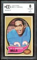 1970 Topps #90 O. J. Simpson Rookie Card BGS BCCG 8 Excellent+