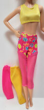 Kool! 3Pc Lot Barbie Excercise Neon Pink & Yellow Body Suit Workout Clothes