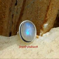 White Rainbow Moonstone Solid 925 Sterling Silver Ring Meditation Ring Handmade